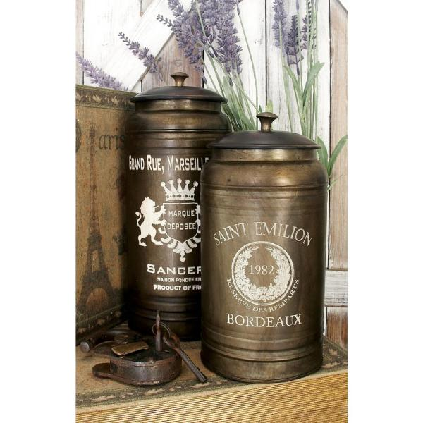 """Litton Lane Black """"Crown and Laurel"""" Iron Metal Canisters with Walnut Brown Lids (Set of 2)"""