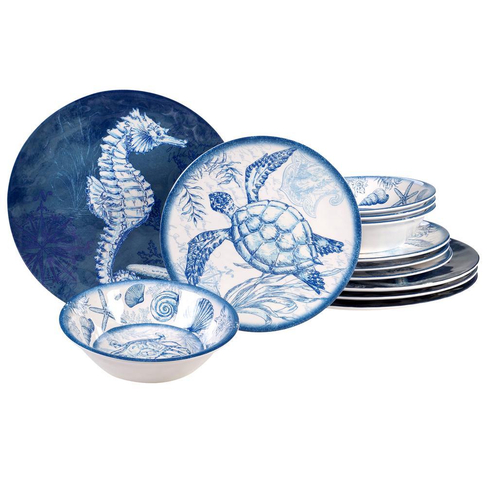 Oceanic 12-Piece Seasonal Multicolored Melamine Dinnerware Set (Service for 4)