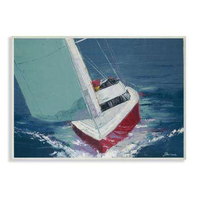 """10 in. x 15 in. """"Red White and Blue Sailboat Cruising the Ocean Painting"""" by Artist Third and Wall Wood Wall Art"""