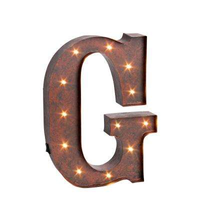 """12 in. H """"G"""" Rustic Brown Metal LED Lighted Letter"""