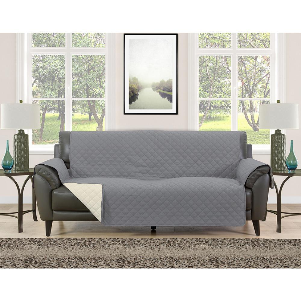 Barrett Grey/Cream Microfiber Reversible Couch Protector