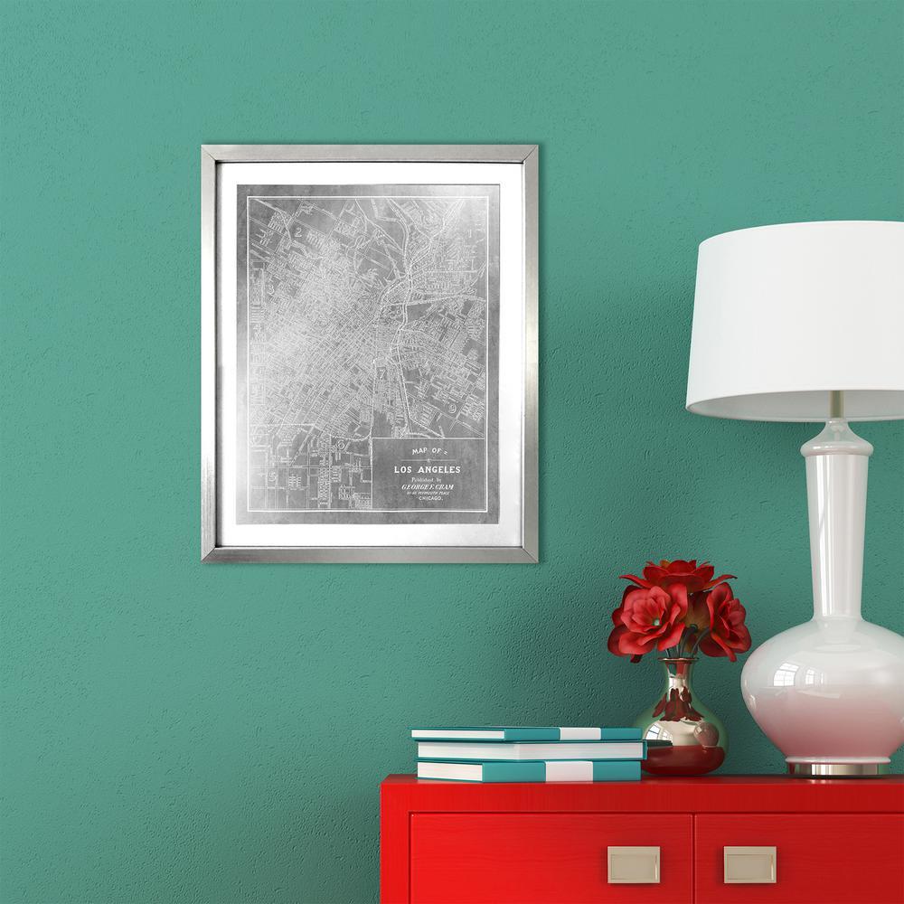 "16 in. x 20 in. ""Los Angeles Map 1899 Silver"" by Wynwood Studio Framed Printed Wall Art"