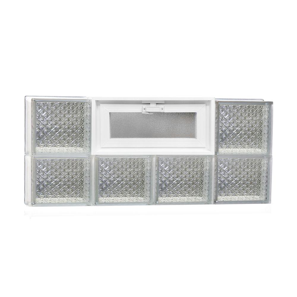 Clearly Secure 31 in. x 13.5 in. x 3.125 in. Vented Diamond Pattern Glass Block Window