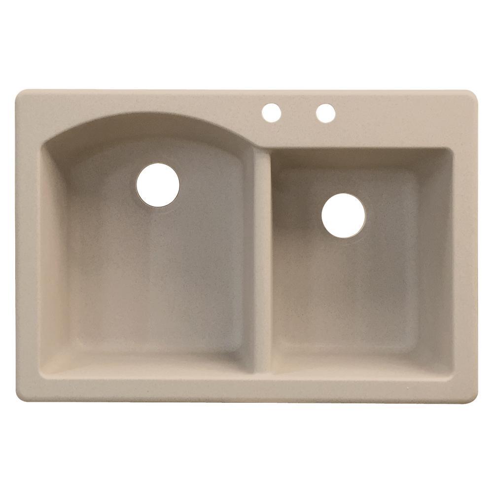 Aversa Drop-in Granite 33 in. 2-Hole 1-3/4 D-Shape Double Bowl Kitchen Sink in Cafe Latte
