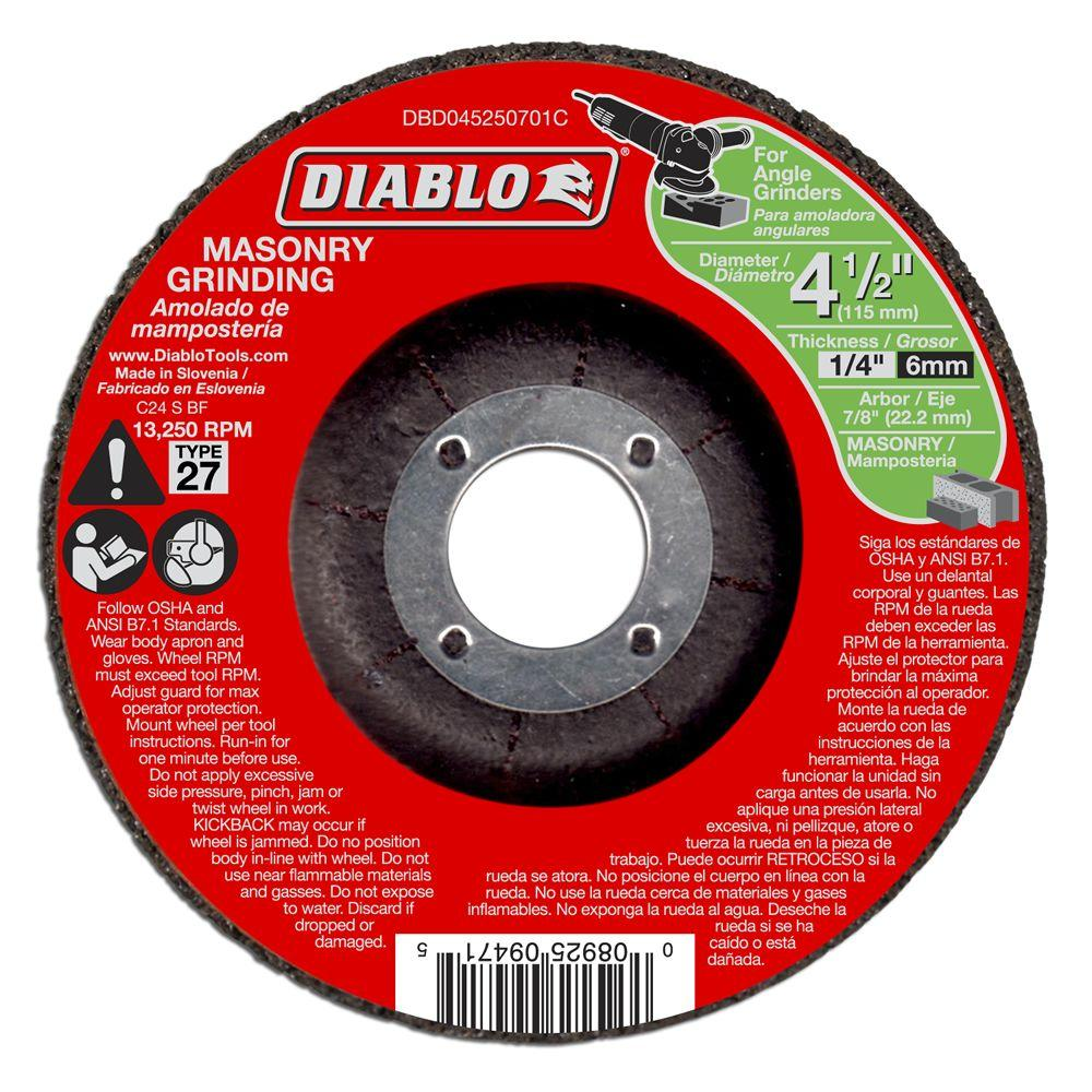 Diablo 4-1/2 in. x 1/4 in. x 7/8 in. Masonry Grinding Disc with Type 27 Depressed Center