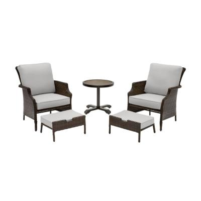 Grayson 5-Piece Brown Wicker Outdoor Patio Small Space Seating Set with CushionGuard Stone Gray Cushions