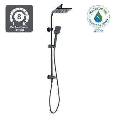Modern 1-Spray Wallbar Shower Kit with Handshower in Matte Black