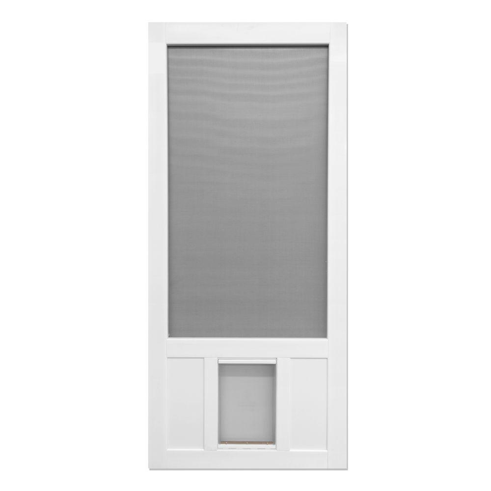 Screen tight 36 in x 80 in chesapeake series reversible solid screen tight 36 in x 80 in chesapeake series reversible solid vinyl screen door with extra large pet flap cpk36xl the home depot planetlyrics Gallery