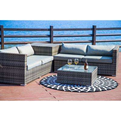 4-Piece Wicker Patio Deep Seating Set with Gray Cushion