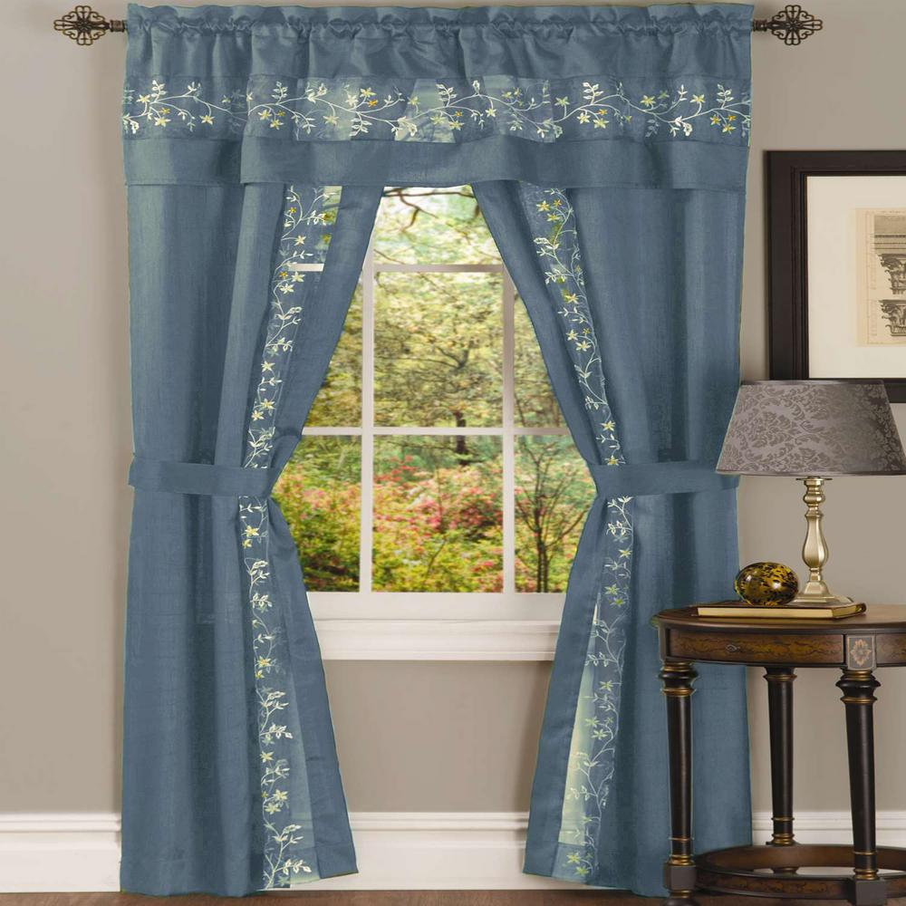 blue window valance window seat achim sheer fairfield ice blue window curtain set 55 in 63 in