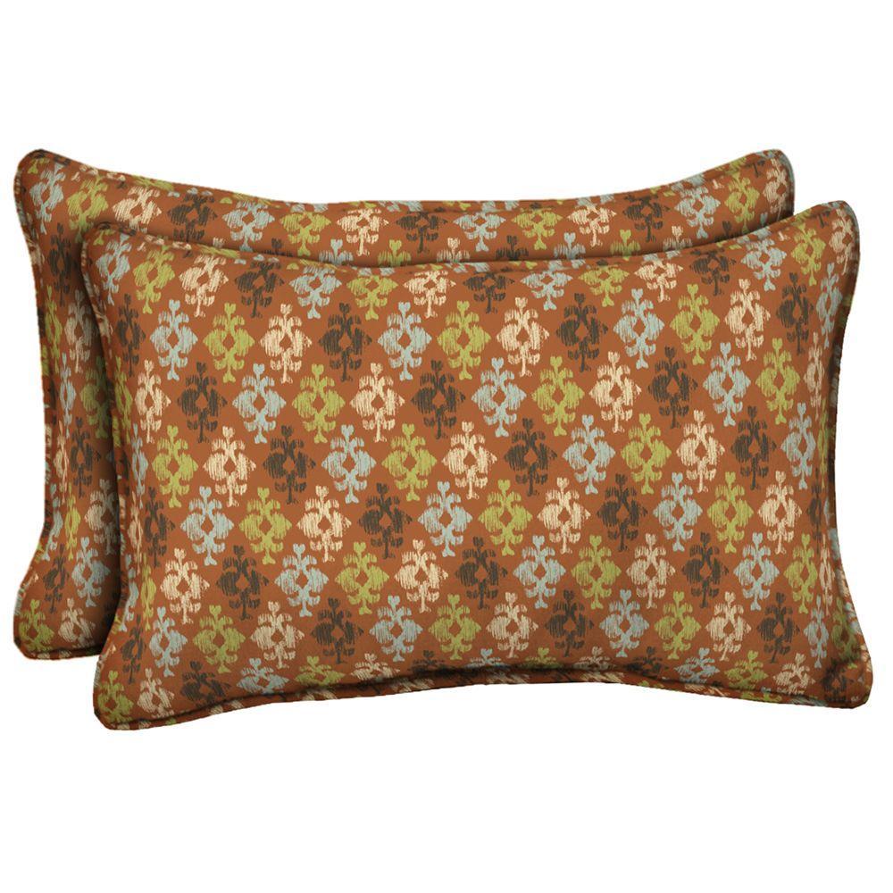 Hampton Bay Fontina Ikat Outdoor Lumbar Pillow (2-Pack)