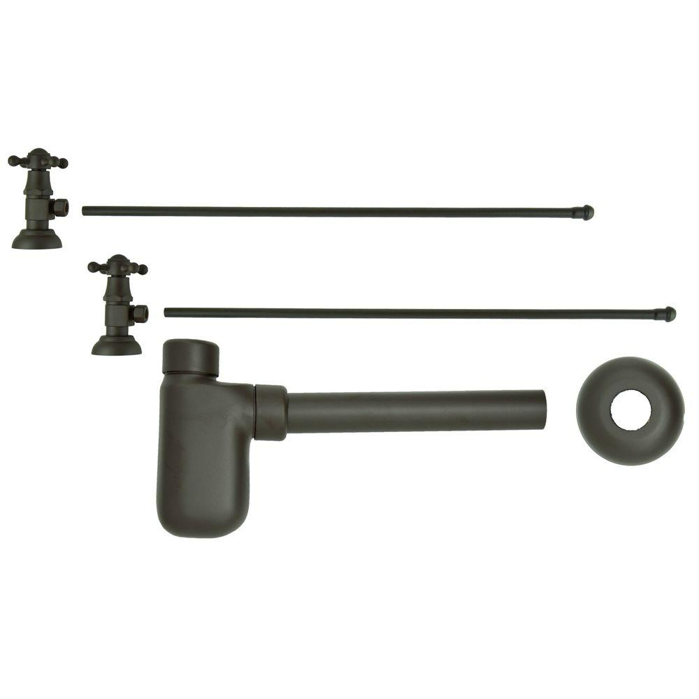Barclay Products 3/8 in. x 20 in. Brass Lavatory Supply Lines with Cross Handle Shutoff Valves and Decorative Trap in Oil Rubbed Bronze Barclay provides all your essential bathroom needs. Replace unsightly plumbing under your exposed sink with this decorative lavatory trap and supplies. Enjoy the convenience of accessible water shut-off. Color: Oil Rubbed Bronze.