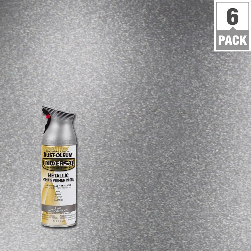 Rust Oleum Universal 11 Oz All Surface Flat Metallic Antique Nickel Spray Paint And Primer In 1