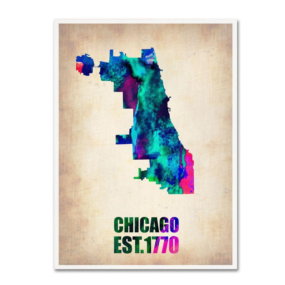 Chicago Map Canvas.Trademark Fine Art 32 In X 24 In Chicago Watercolor Map Canvas Art