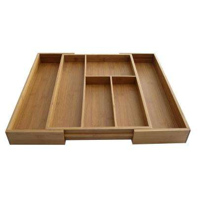 Natural Brown Bamboo Utensil Organizer Expandable from 16.5 in. to 20 in.