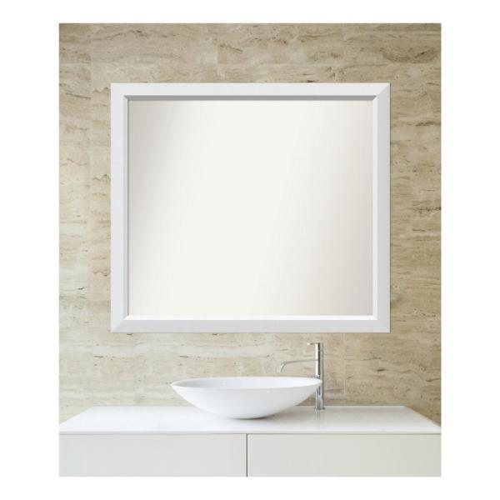 Medium Rectangle White Modern Mirror (34 in. H x 38 in. W)