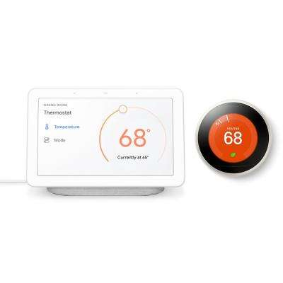 Nest Hub Chalk + Nest Learning Thermostat 3rd Gen in White