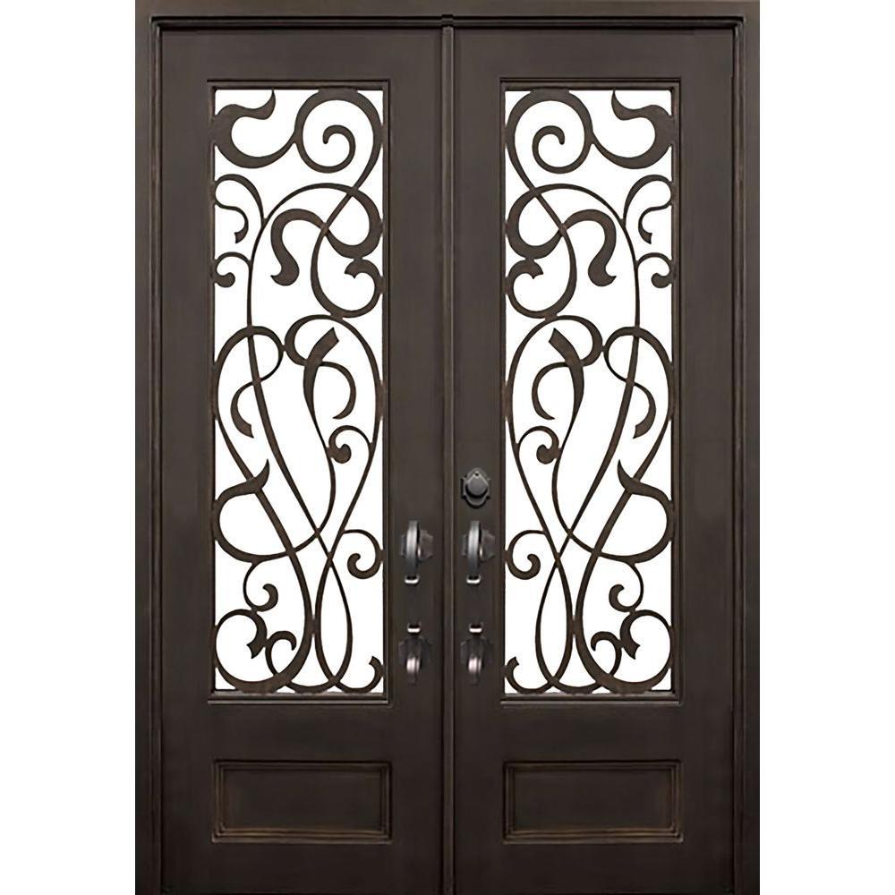 ALLURE IRON DOORS & WINDOWS 72 in. x 96 in. St.Lucie Flat Top Dark Bronze 3/4 Lite Painted Wrought Iron Prehung Front Door (Hardware Included)