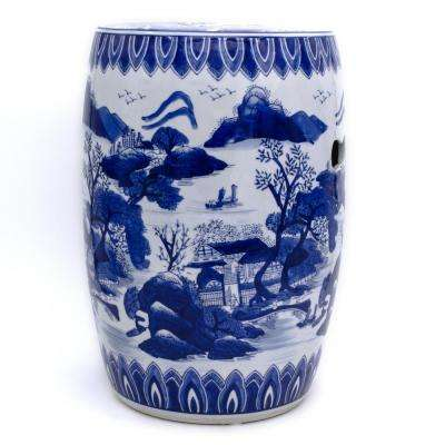 Blue Garden Landscape Ceramic Drum Stool