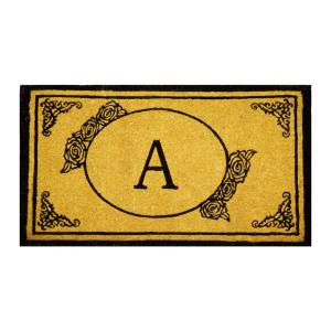 Monogram A 39 inch x 24 inch Coir Outdoor Welcome Entrance Doormat by