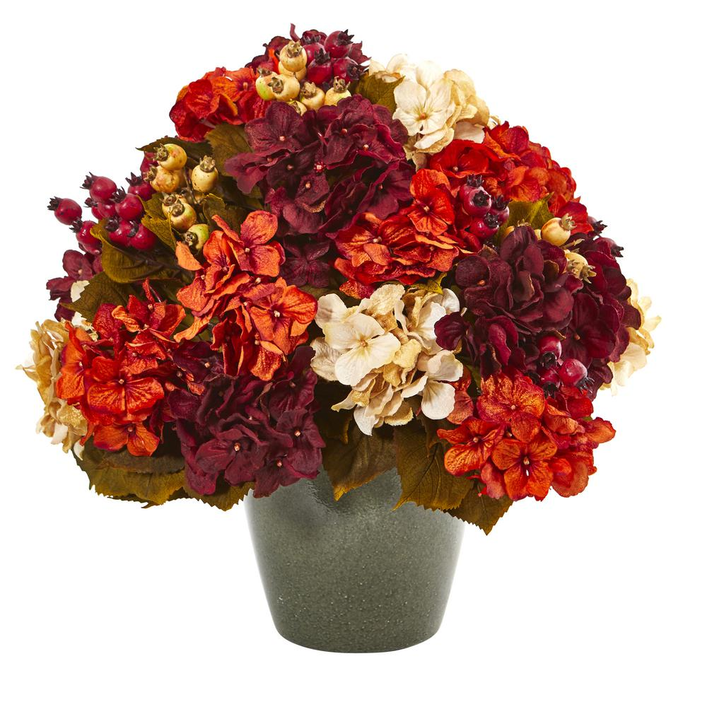 Nearly Natural 20 in. Autumn Hydrangea Artificial Arrangement in Green Vase