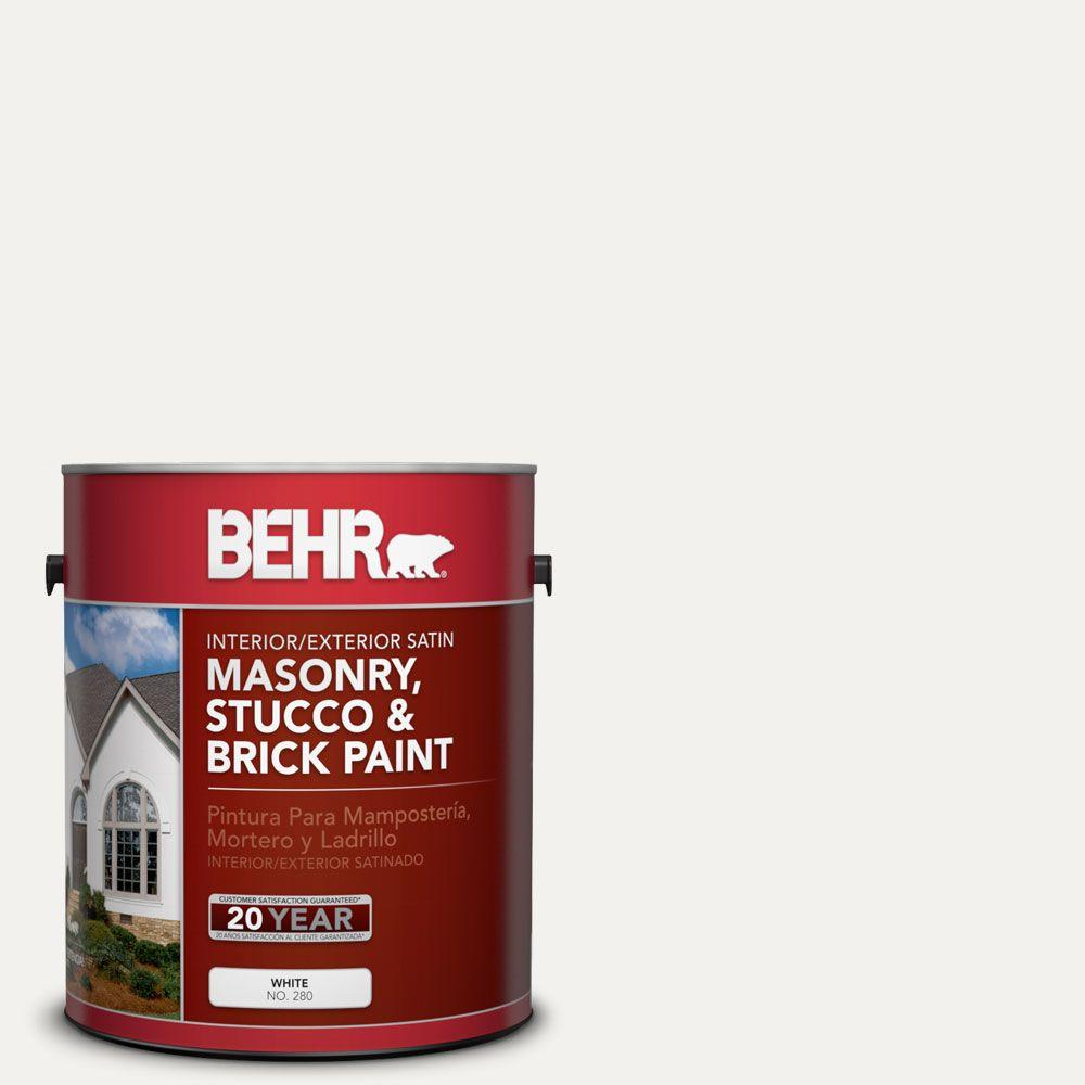 1 gal. #MS-39 Crystal White Satin Interior/Exterior Masonry, Stucco and Brick