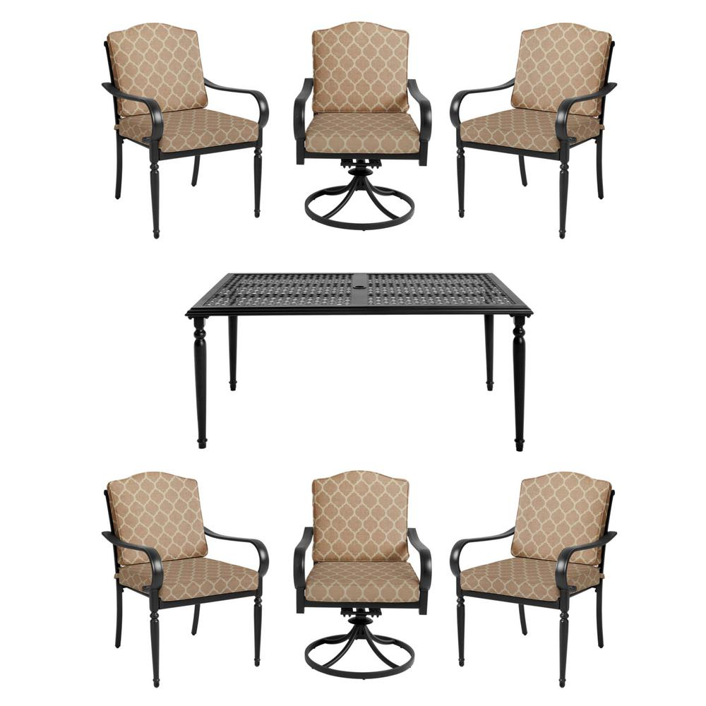 Laurel Oaks 7-Piece Brown Steel Outdoor Patio Dining Set with CushionGuard Toffee Trellis Tan Cushions