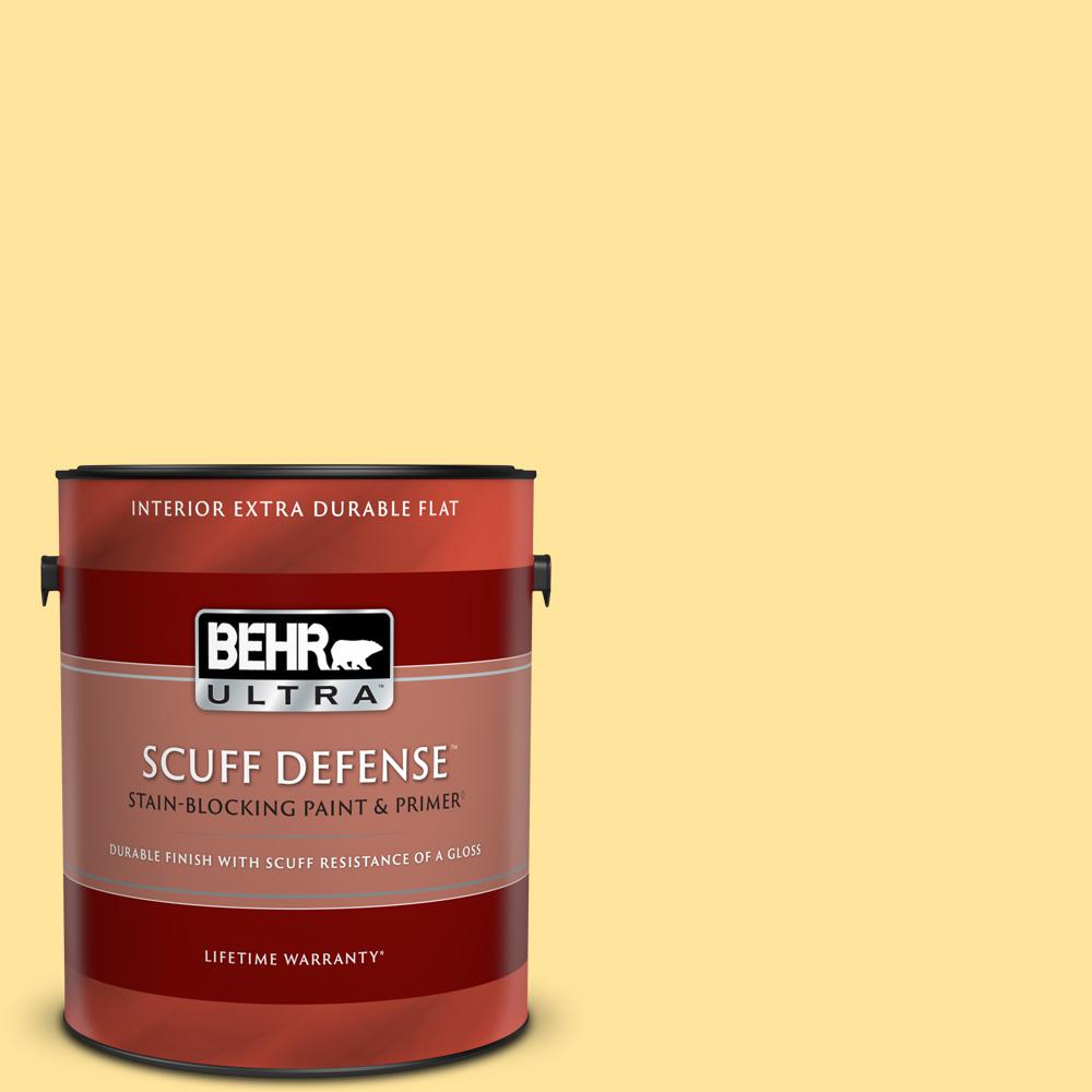 Behr Ultra 1 Gal 340b 4 Lemon Drops Extra Durable Flat Interior Paint And Primer In One 172401 The Home Depot