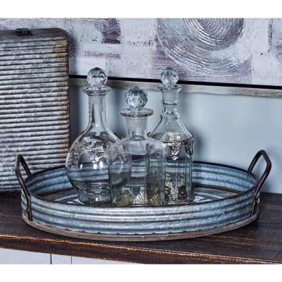Distressed Silver DecorativeTrays with Handles (Set of 2)