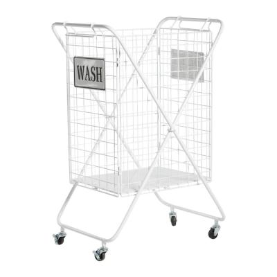 LITTON LANE Large White Metal Laundry Basket with Wheels and Decorative WASH Sign, 23in x 33in