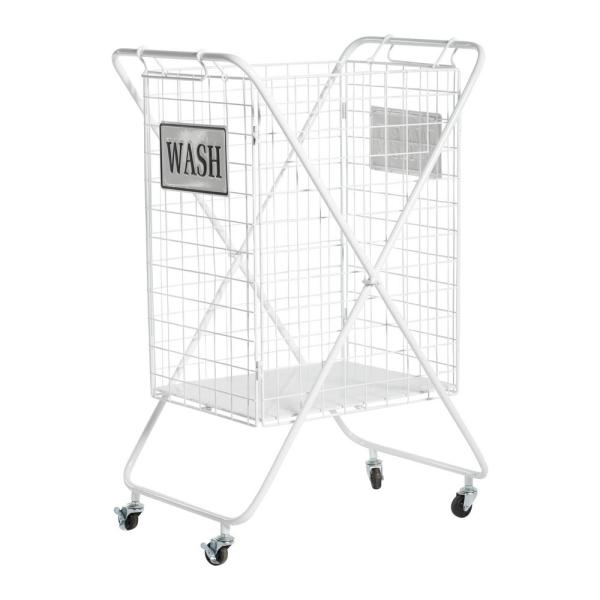 Large White Metal Laundry Basket with Wheels and Decorative WASH Sign, 23in x 33in
