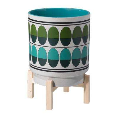 9.1 in. W x 9.1 in. D x 12.8 in. H Green and Teal Ceramic Retro Planter