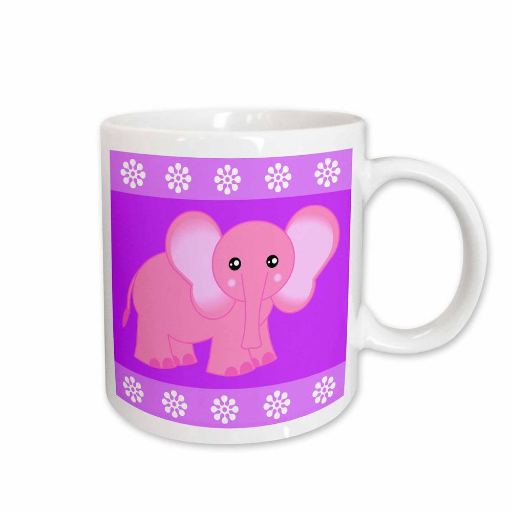 Janna Salak Designs Jungle Animals 11 oz. White Ceramic Pink Baby Elephant Mug