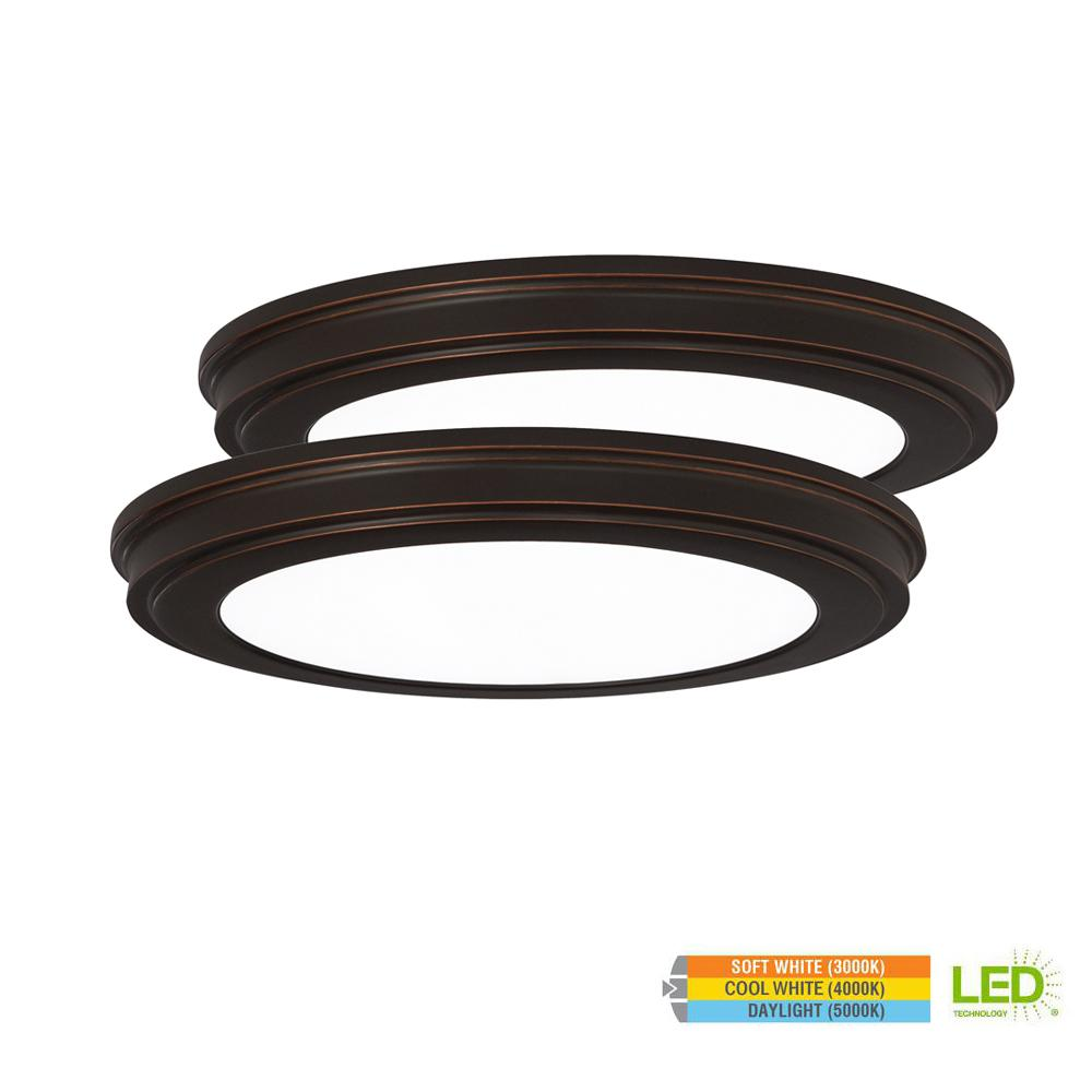 13 in. 24-Watt Oil Rubbed Bronze Color Changeable LED Ceiling Flushmount