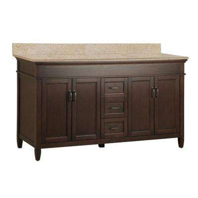 Ashburn 61 in. W x 22 in. D Double Bath Vanity in Mahogany with Granite Vanity Top in Beige