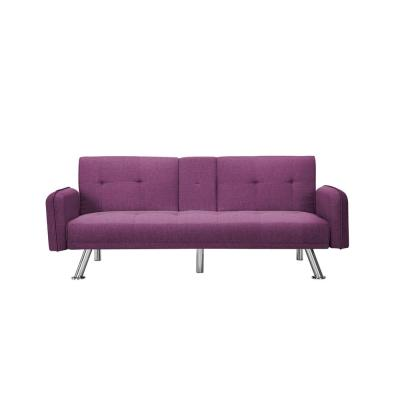 74.8 in. Purple Fabric 4-Seater Full Sleeper Sofa Bed with Square Arms
