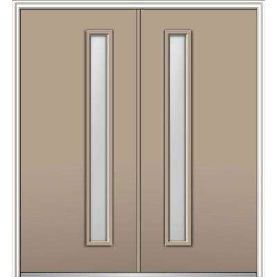 72 in. x 80 in. Viola Right-Hand Inswing 1-Lite Clear Low-E Painted Fiberglass Smooth Prehung Front Door