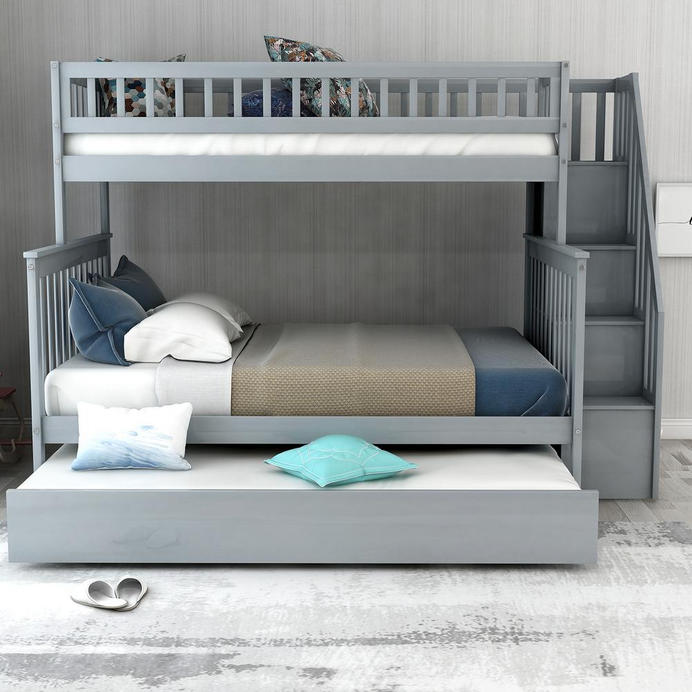 Gray Twin Over Full Bunk Bed with Trundle and Stairs for Kids
