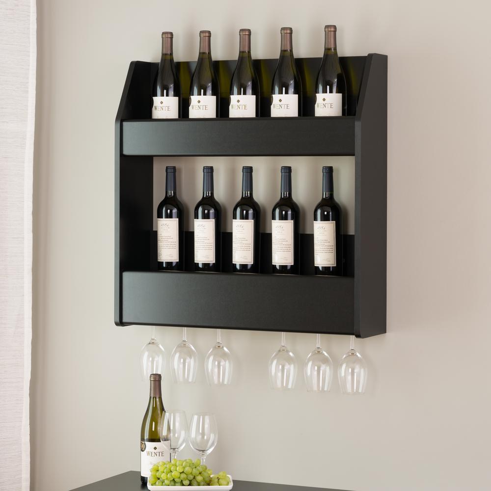 Prepac Black 2-Shelf Composite-Wood Floating Wine and Liquor