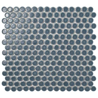 Hudson Penny Round Storm Grey 12 in. x 12-5/8 in. x 5 mm Porcelain Mosaic Tile