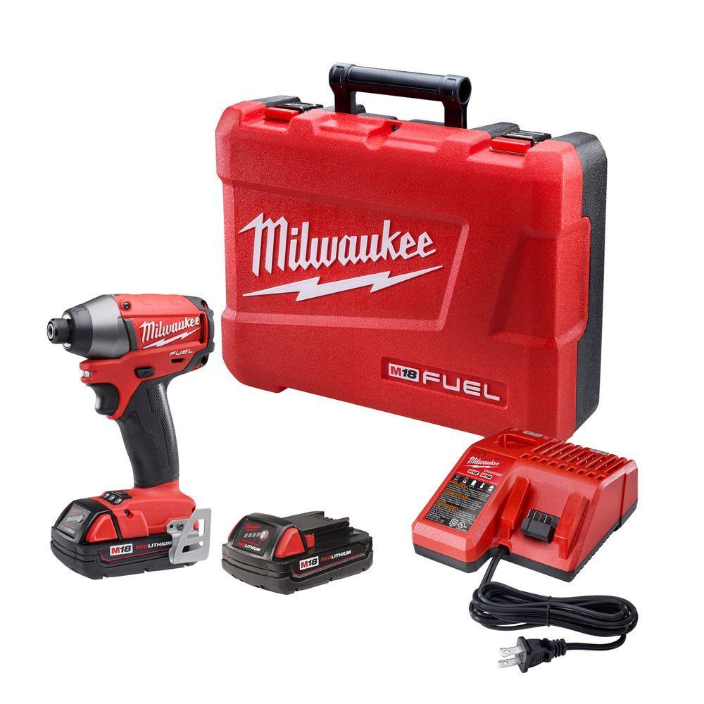 Milwaukee M18 FUEL 18-Volt Cordless Brushless Lithium-Ion 1/4 in. Hex Impact Driver Compact Battery Kit
