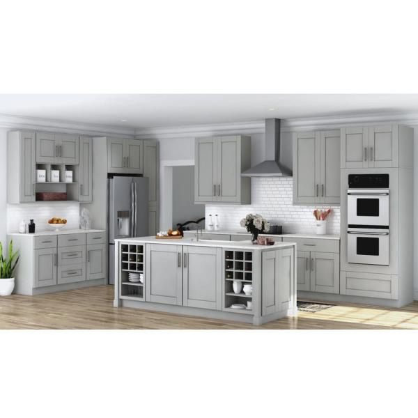 Hampton Bay Shaker Assembled 33x84x24 In Double Oven Kitchen Cabinet In Dove Gray Kdv3384 Sdv The Home Depot