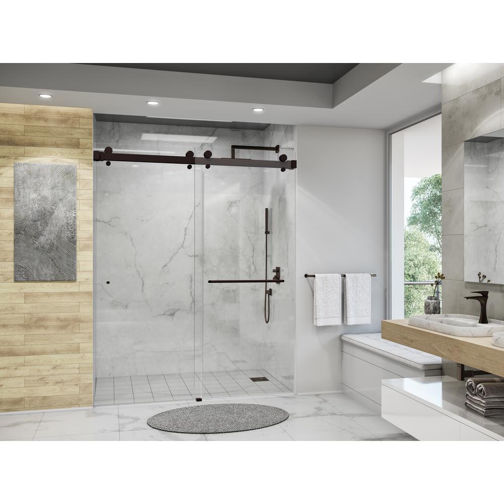 Luna 58-1/16 in. - 60 in. W x 74 in. H Frameless Bypassing Sliding Shower Door in Oil Rubbed Bronze