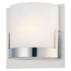 Convex 1-Light Brushed Aluminum Backplate with Chrome Glass Holder Wall Sconce