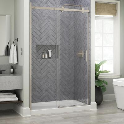 Commix 48 in. x 76 in. Frameless Sliding Shower Door in Nickel with 5/16 in. (8 mm) Clear Glass