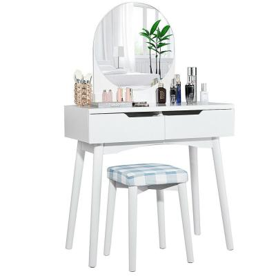 2-Drawer White Vanity Table Set with Round Mirror Cushioned Stool Makeup Dressing Table
