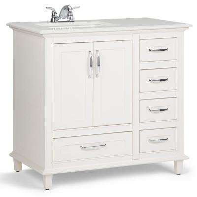Ariana 36 in. W x 22 in. D Bath Vanity in Soft White with Quartz Marble Vanity Top in Bombay White with White Basin