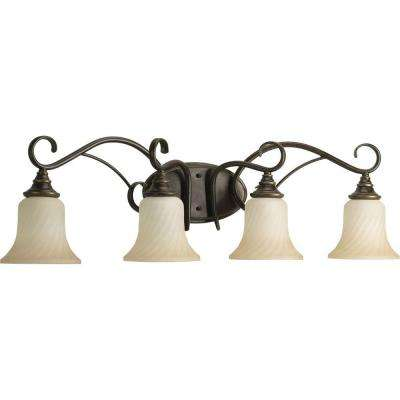 Kensington Collection 4-Light Forged Bronze Bathroom Vanity Light with Glass Shades