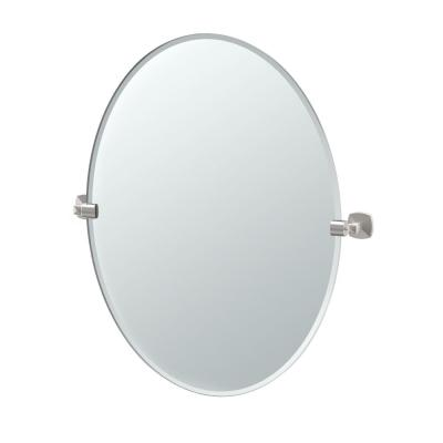 Jewel 32 in. x 29 in. Frameless Oval Mirror in Satin Nickel