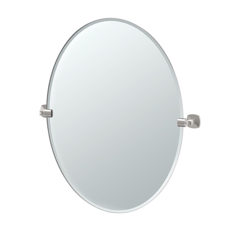 Jewel 32 in. x 29 in. Frameless Oval Mirror in Satin Nickel